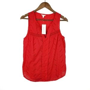 NWT Sonoma Red Sleeveless V-Neck Embroidered Top